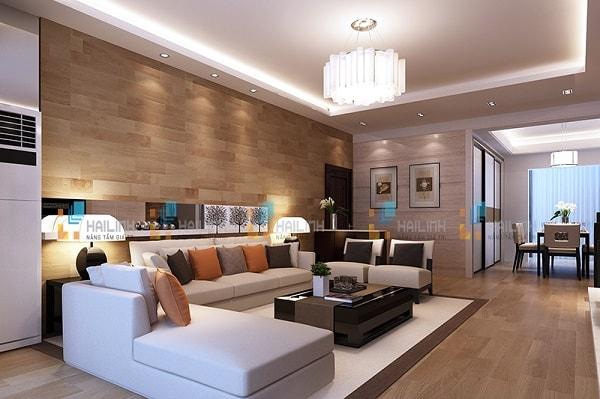 Chọn gạch ốp tường vân gỗ cho phòng khách
